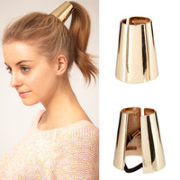 Free Shipping~2014 Jewelry Metal Big Gold/Silver Plated Elastic Ponytail Holder Hair Accessories for Women M018