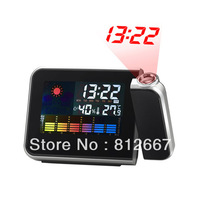 Free Shipping Desktop Wireless Digital LCD Weather Station Thermometer Alarm Clock Projection 119
