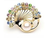 Korea fashion luxury crystal Pearl Peacock scarf clip brooch dual-use