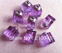 Freeshipping  purple Cubic  Perfume Glass Vial Pendant Bottle SCREW CAP rice art pendant glass bottle pendant