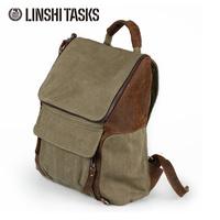High quality canvas+genuine leather mens bag backpacks,hotsale mens casual bag travel bag L122AC01