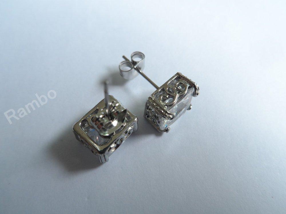 HOT!Christmas gift stainless steel casting earrings inlaid white zirconium stone rock band jewelry ship free(China (Mainland))