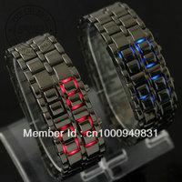 New men and women Lava Iron Samurai Metal LED Faceless Bracelet Watch free shipping