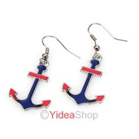 Wholesale - 10pcs Stylish Ear Ring Punk Rock Vintage Style Gift Retro Blue Enamel Anchor Earrings 261459