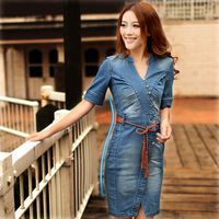 Free shipping 2013 summer fashion  haitian slim  skirt denim dress leather belt free shipping formal  dress