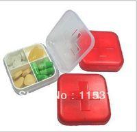 10PCS/lot High quality  Cartoon portable 4 grid Pill box+ Free shipping!!!