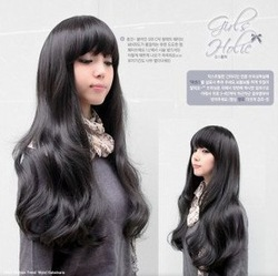 Cute Black Women Long Kanekalon Wavy Party Hair wig(NWG0LO60480-BL2)(China (Mainland))