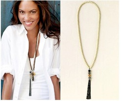 Free Shipping~~Fashion Necklace Jewelry 2012 Faux Pearl Chain&Rhinestone Ball Long Revival Tassel Pendant NecklaceOY111512(N048)(China (Mainland))