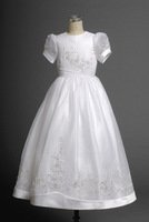 Lovely White Short Sleeves Round Applique Actual Fist Communion Dress  for girls