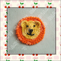 crochet cotton flower applique lion 20pcs a lot free shipping