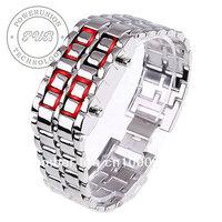 New Free shipping,500 Pcs/Lot,Hot Sales 2012 Newest fashion Lava style iron samurai RED+BLUE light metal LED Bracelet Watch