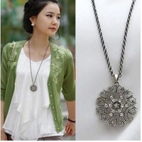 (Min order $10 mix) Boximiya adorn article hollow-out decorative pattern pendant necklace (black)+ Free Shipping