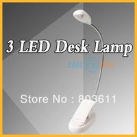 Flexible 3 LED Light Clip Table Desk Lamp White Light +USB Cable