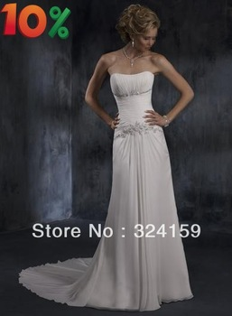 10% off Elegant and Fashion  floor-length court train lace up  simple  wedding dress