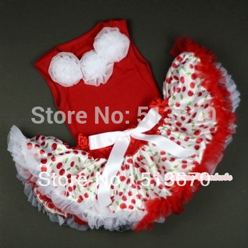 Hot Red Baby Pettitop &White Rosettes with White Cherry Baby Pettiskirt MANG1035