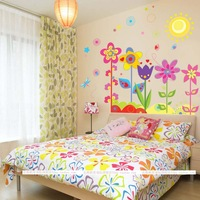 Colorful flowers and child real tv sofa background wall stickers