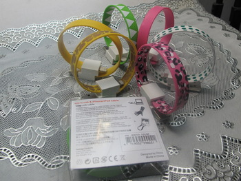 2012 Hottest Bracelet Wrist colorful USB cable for iPhone 5
