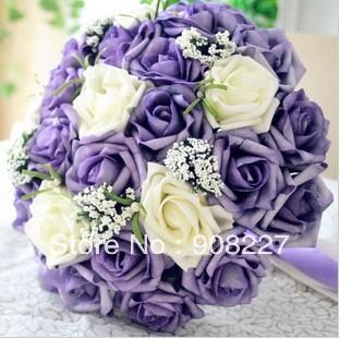 Achetez en gros rose pourpre bouquet de mari e en ligne des grossistes rose - Vente a terme avec bouquet ...