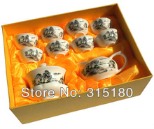 On Sale Ceramic Kungfu Tea Set With Landscape Painting White Porcelain Tureen Tea Sets Novelty Items