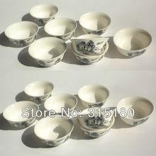 On Sale Ceramic Kungfu Tea Set With Landscape Painting White Porcelain Tureen Tea Sets Novelty Items
