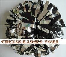 "cheerleading Pom poms 3/4""x 6""~custom color metallic black and silver handmade new hot sale mini order 10 pieces(China (Mainland))"