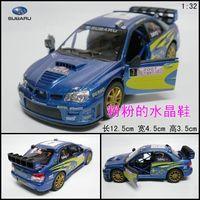 Soft world artificial car model toy car alloy car model SUBARU automobile race blue