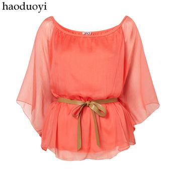 free shipping Haoduoyi wal g fairy bow belt shirt chiffon batwing sleeve shirt 6 full