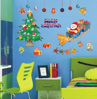 50*70cm Wholesale 3 pcs/lot free shipping Christmas tree gift Christmas decoration wall stickers New year paper house stickers