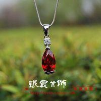 Free shipping stunning 925 pure silver garnet crystal pendant