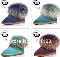 Free Shipping ew high quality women's fox fur snow boots 5854 short cowhide boots Drop shipping US5-US9
