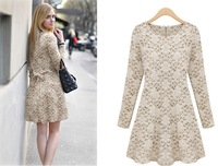 2013 autumn and winter Long-Sleeve Lace Printed Fashion Dress with Free Shipping