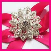 Free shipping (100pcs/lot) 50mm flower rhinestone brooch for wedding
