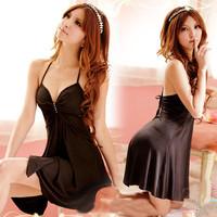 Sexy Ladies Nightie Sleep Dress Nightwear  Diamond Women Pijamas Black Satin Babydoll DRESS Chemise Lingerie home clothes