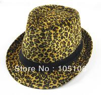 Women Leopard Fedora Hats Adult Fedoras With Black Band Caps Classical Jazz Hat Cap