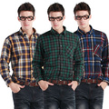 Free Shipping Casual Men's  long-sleeve plaid shirt , Plus Size Men Fashion Business Shirts