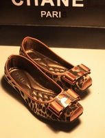 Comfortable all-match metal decoration bow square toe flat-bottomed single shoes women's shoes