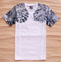 Free shpping wholesale new 2014 fashion dragon personalized short-sleeve T-shirt men's clothing basic designer brand t shirt