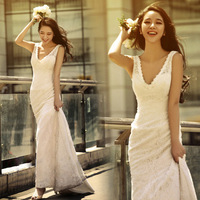 Sexy deep V-neck slim waist and fish tail train bride wedding dress formal dress 2012 new arrival 8108