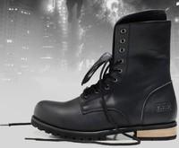 Free Shipping Men Cowhide Boots Men Black shoes Rubber sole Shoes Fashion Men Martin leisure Shoes New arrival