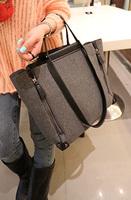 Free Shipping Ddpopo fashion bf woolen handbag messenger bag metal decoration zipper bag w559