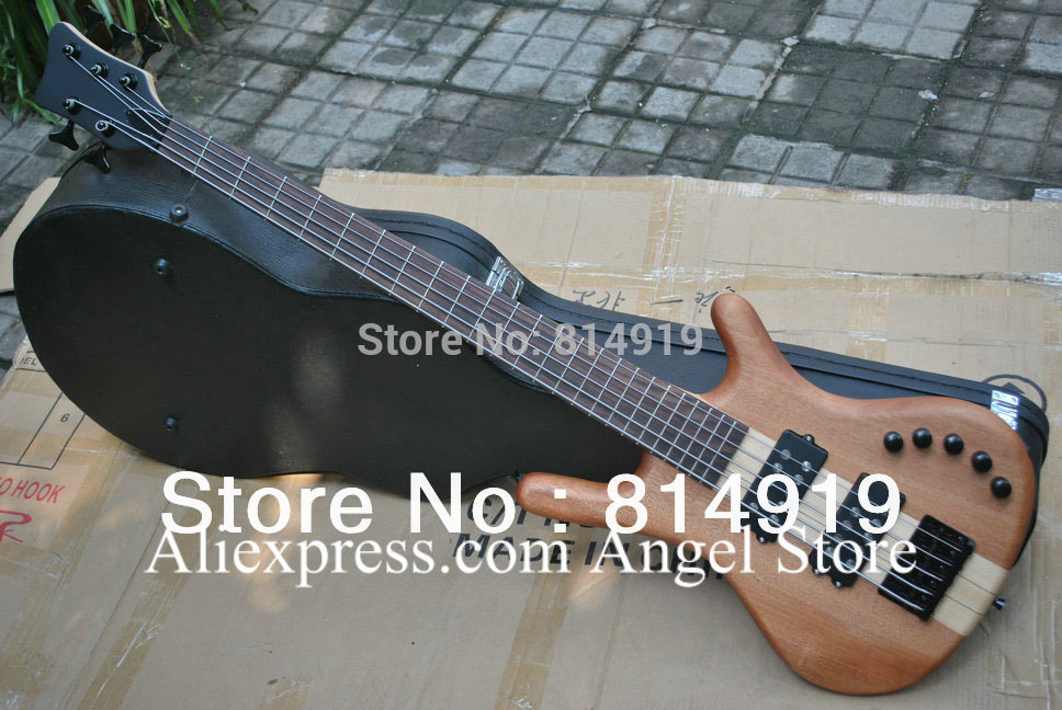 Top quality LTD Corvette 5 strings natural wooden electric bass with with 9 V Battery active pickups HOT SALE(China (Mainland))