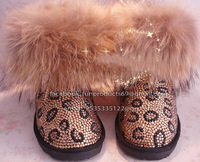 P&B boutique women  shinning crystal diamond  lace up boots / pearl snow boots /can be custom-made,,also can make for kid