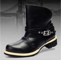 Free Shipping Top Quality Genuine leather rubber-sole boots Original Men Black Boots Fashion Winter boots Hot Sale