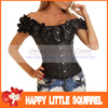 2013 NEW Sexy Whiteand Black Full Steel Bones Lace Up Corset Top Bustier with G-string S-XL drop shipping