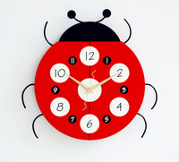 Wooden Ladybug Wall Clock For Baby Room Art Wall Clock For Bed Rom 32*32CM Free Shipping NZ19