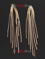 Hot Wholesale-4pcs Fashion Stylish Gold Tone Tassel Long Dangle Earrings Free Postage 261500
