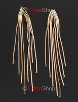 Hot Wholesale-4pcs Fashion Stylish Gold Tone Tassel Long Dangle Earrings Free Postage 261500