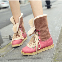 fashion leather ladies  Winter snow boots fur boots martin boots women's shoes