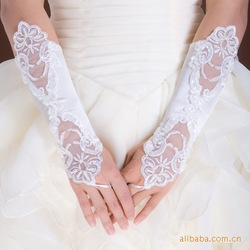 Wedding Bead Satin Elbow Long Fingerless Prom Evening Bridal Wedding Gloves New[240125](China (Mainland))
