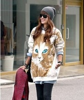 Free Shipping Cute Printed Cat White Ladies Pullover/ Sweatshirts Loose Hoodies Clothing Women